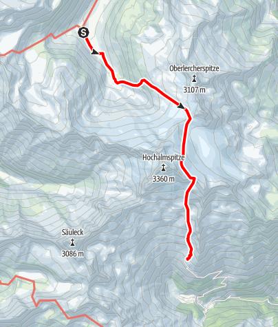 Karte / Übergang Osnabrücker Hütte zur Gießener Hütte