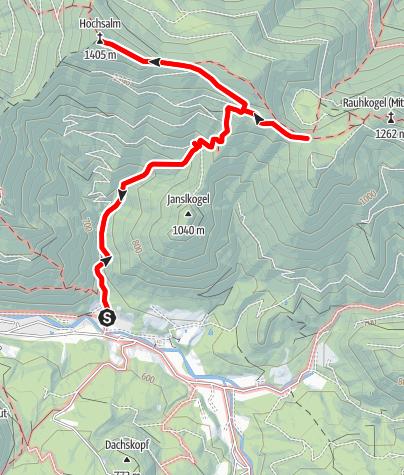 Karte / Hochsalm Südanstieg