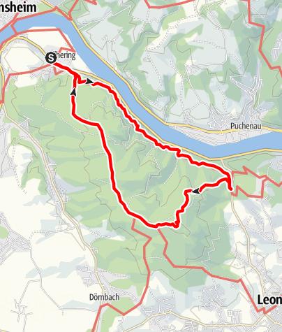 Karte / Rundtour, Prinzensteig-Kürnberg-Wilhering, O.Ö.