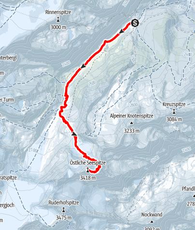 Karte / Östliche Seespitze 3.416 m von der Franz-Senn-Hütte