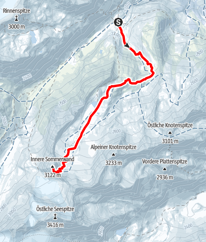 Karte / Innere Sommerwand 3.122 m von der Franz-Senn-Hütte