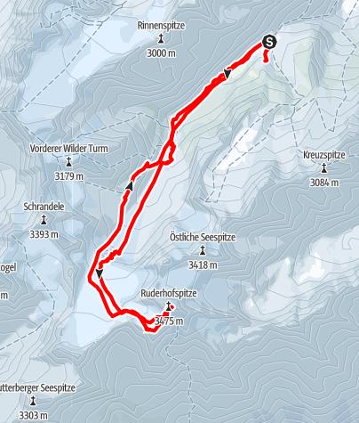 Karte / Ruderhofspitze 3.473 m Skitour von der Franz-Senn-Hütte