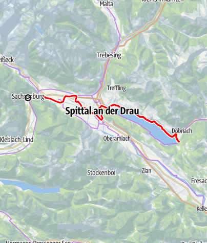 Karte / Handbike-Tour Drauradweg Etappe 3: Sachsenburg - Seeboden