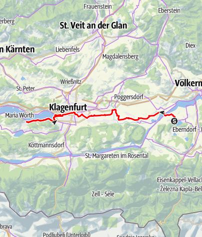 Karte / Handbike-Tour Drauradweg Etappe 7: Klopeiner See - Klagenfurt