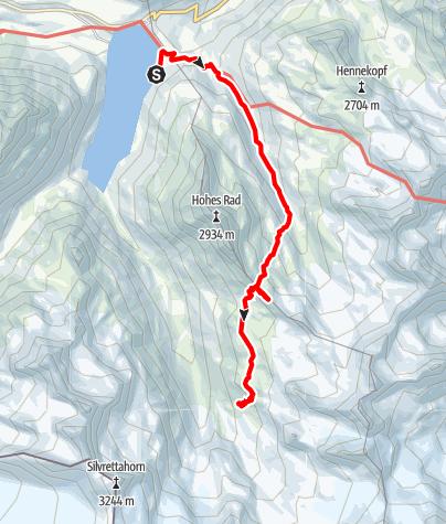 Karte / Wiesbadener Hütte über Radsattel  von Bieler Höhe