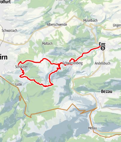 Karte / Von Egg auf die Weißenfluhalpe und zurück nach Schwarzenberg