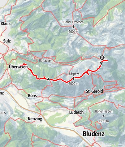 Karte / Walserkamm - Furkajoch bis nach Übersaxen