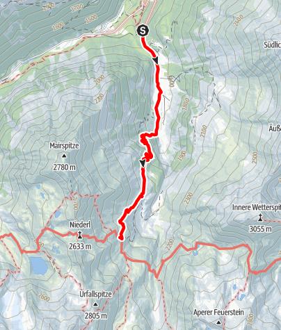 Map / Ein Netz von kleinen Bächen: Langental - Bsuchalm - Nürnberger Hütte