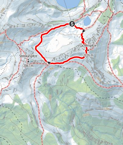 Karte / Klettersteig Lachenspitze Nordwand von der Landsberger Hütte