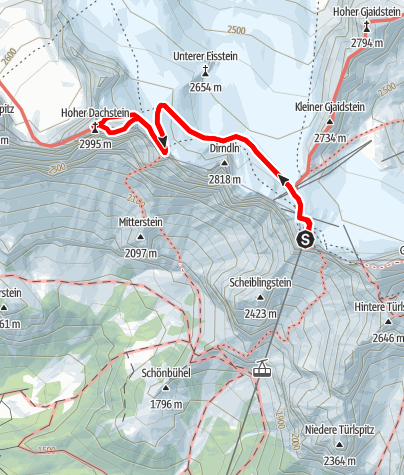 Karte / Hoher Dachstein Randkluft und Schulter