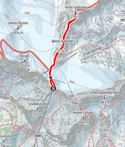 Karte / Gjaidstein Klettersteig