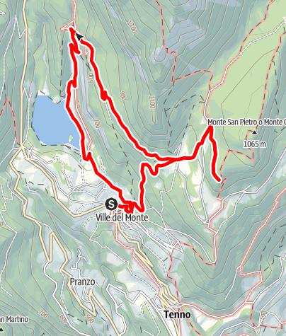 Karte / Wanderung zur Berghütte San Pietro am Monte Calino