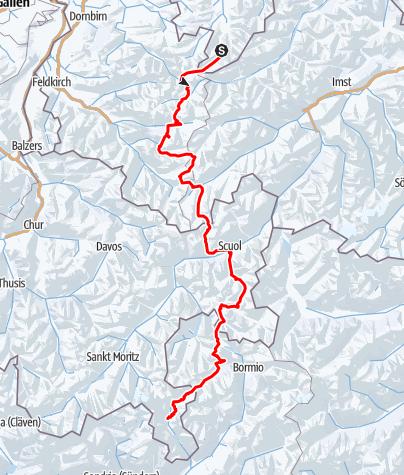 Karte / Alpencross mit Backcountryski von Oberstdorf nach Poschiavo