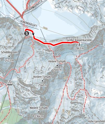 Karte / Koppenkarstein Westgrat Klettersteig