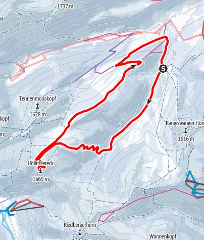 Karte / Mit Backcountryski von Gunzesried zum Höllritzer Eck