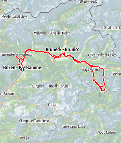 Karte / Plätzwiese - Strudelkopf - von Brixen mit dem Rad
