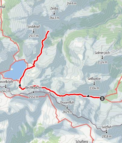Karte / Übergang Lindauer Hütte zur Heinrich-Hueter-Hütte