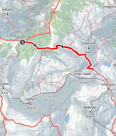 Karte / Übergang Lindauer Hütte zur Tilisunahütte