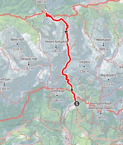 Karte / Übergang Gaudeamushütte zum Stripsenjochhaus