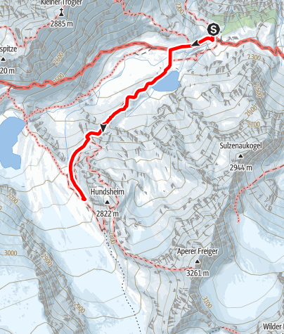 Map / Blaue Lacke und Sulzenauferner