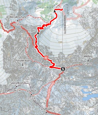 Karte / Übergang von der Mannheimer Hütte zur Oberzalimhütte