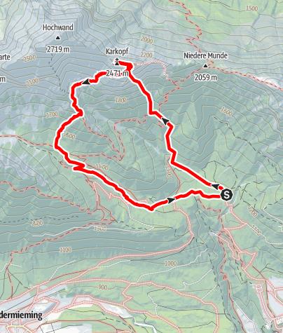 """Karte / """"Dolce Vita sulle Rocche"""" Schwgr. 8, 450m, Karkopf-Südwand"""