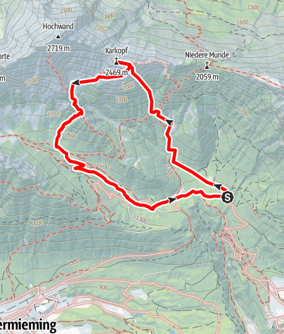 """Karte / """"Heimatliebe"""", Schwgr.7-, 450m, Karkopf Südwand -Mieminger Gebirge"""