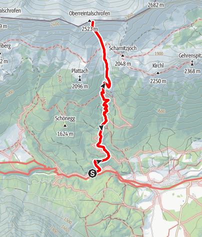 Karte / Everybodys Darling, Schwgr. 8+, Obereintalschrofen Südwand- Wetterstein-Gebirge