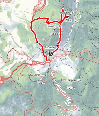 Karte / Kurze Kletterei auf den Monte Baffelan und zurück.