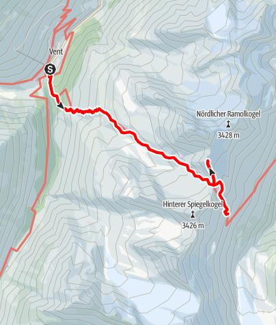 Karte / Kleiner Ramolkogel 3349m von Vent über Ramoljoch