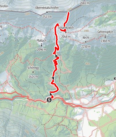 """Karte / """"Feuerlilie"""" Schwgr. 7+, Wandhöhe 200m, Scharnitzspitz-Südwand Wettersteingebirge"""