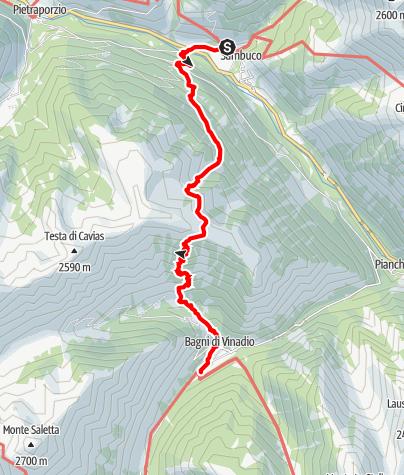 Karte / Pforzheim – Mittelmeer: 57.Etappe Pontebernardo - Rifugio Migliorero