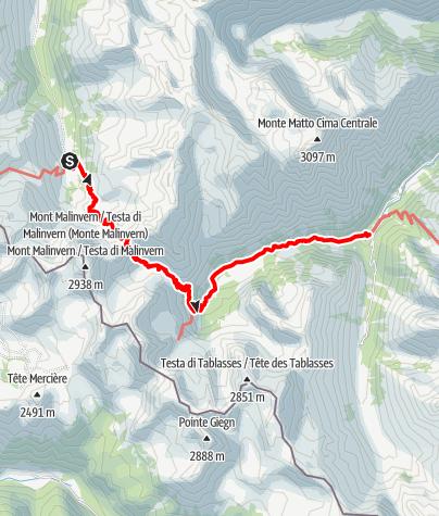 Karte / Pforzheim – Mittelmeer: 55.Etappe Rifugio Malinvern – Terme di Valdieri