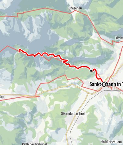 Map / Adlerweg - Etappe 1 St. Johann - Gaudeamushütte