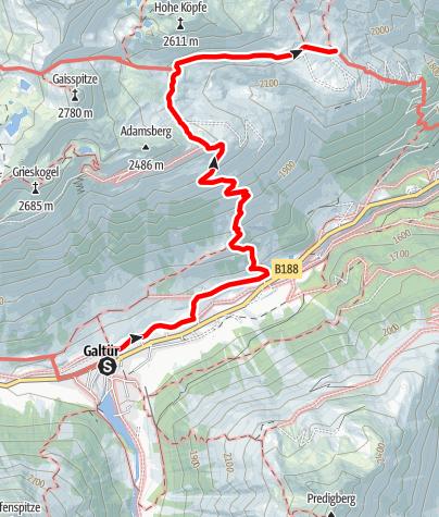 "Karte / PAZNAUNER HÖHENWEG - Etappe 5 …die ""Entspannungs"" Etappe"