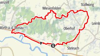 Karte / E8 von Regensburg nach Passau 2. Etappe Rundtour Wörth bis Niederkinsach bei Stallwang