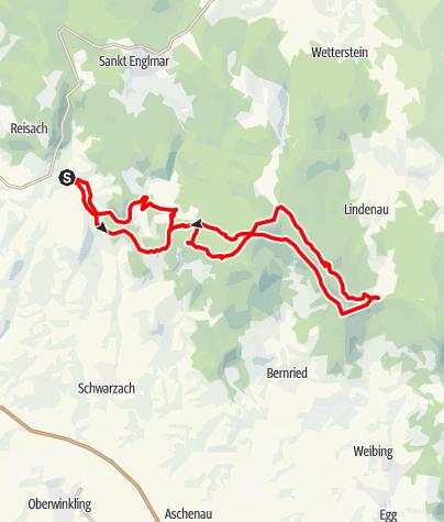 Karte / E8 von Regensburg nach Passau 4.1 Etappe Rundtour Obermühlbach bis Kalteck bei Grün