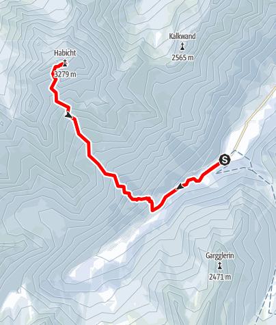 Karte / Habicht (3277 m) Südanstieg von Gschnitz
