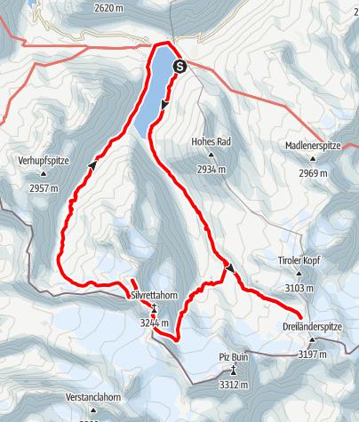 Karte / Ausbildungstour und Silvrettahornüberschreitung  22.07-25.07.2021