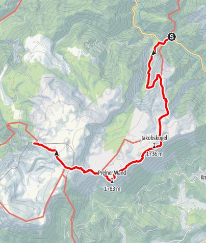 Karte / Haute Route 3. Etappe: Weichtalhaus – Habsburghaus