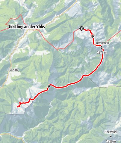 Karte / Haute Route 9. Etappe: Ybbstaler Hütte – Hochkarschutzhaus