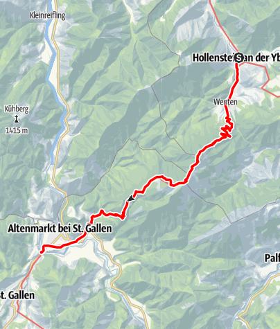 Karte / Haute Route 12. Etappe: Hollenstein – Voralpe