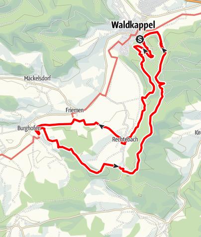 Karte / Premiumweg P 17 Waldkappeler Berge (Nordhessen)
