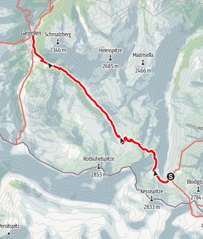Karte / Min Weag 18 | Tübinger Hütte – Gargellen