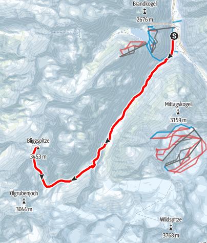 Karte / Bliggspitze vom Taschachhaus