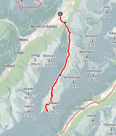 Map / Stubai High Route Segment A - Neder to Innsbrucker Hut