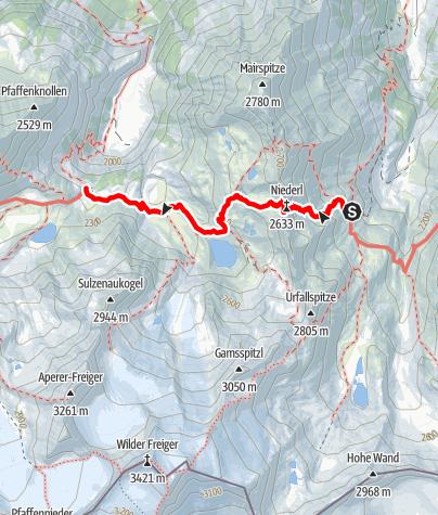 Map / Stubai High Route Segment D - Nürnberger Hut to Sulzenau Hut