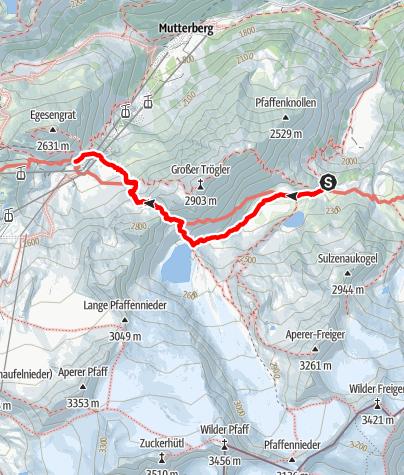 Map / Stubai High Route Segment E - Sulzenau Hut to Dresdner Hut