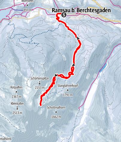 Karte / Hochalmkopf - stramme Tour im Schatten von Watzmann und Hochkalter