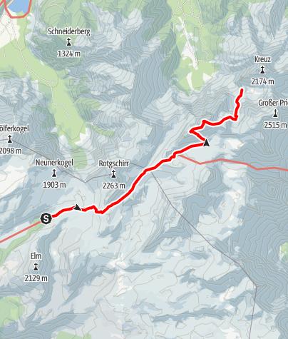 Karte / Rotgschirr - Die Felsmauer über dem Karstplateau